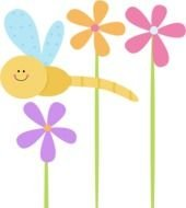 Dragonfly And Flowers Image clipart