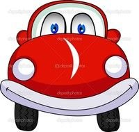 painted red cartoon car