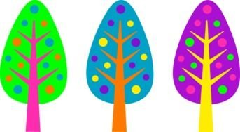 drawing three colored trees