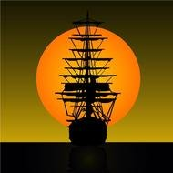 sailboat at sunset for clipart