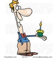 Clipart of man is holding a Birthday Cupcake