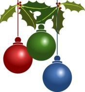 three christmas balls on branches as a picture for clipart