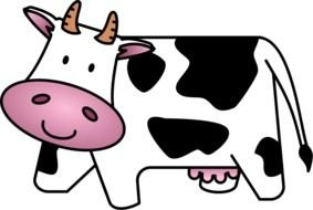 cartoon white and black Cow