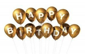 clipart of the gold happy birthday balloons