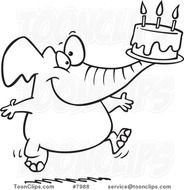Cartoon Black And White Line Drawing Of A Birthday Elephant Carrying