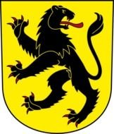 painted yellow coat of arms with a black wild cat