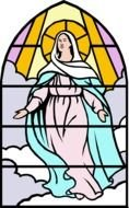 drawing of the virgin mary on a stained glass window