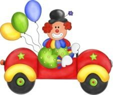 Colorful clown in the colorful flying car clipart