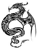 Simple Chinese Dragon Silhouette drawing