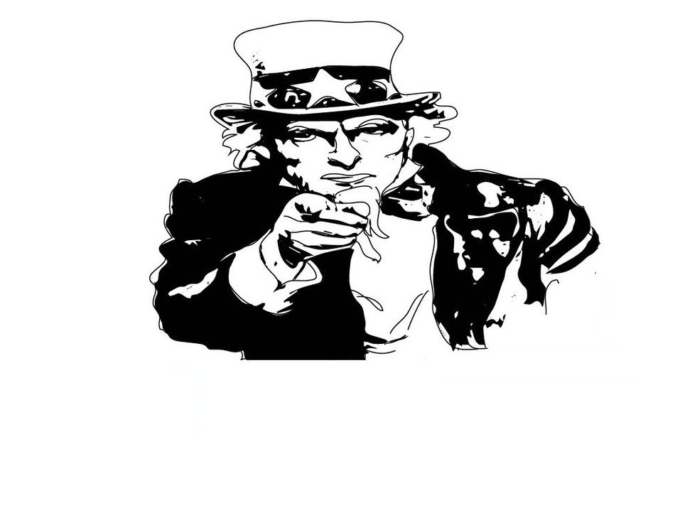 black and white portrait of uncle Sam