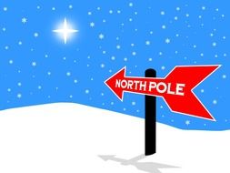 north pole sign christmas direction