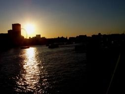 evening London panorama view from the River Thames