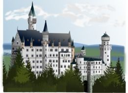 drawing of neuschwanstein castle with towers