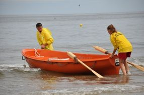Lifesavers with the boat in the Baltic Sea