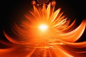 rays of sunset in abstract flower form, digital art