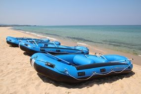 Rubber boats on beach
