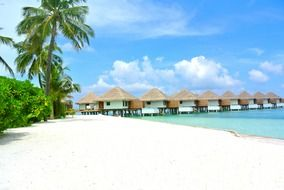bungalows along the beach in the Maldives