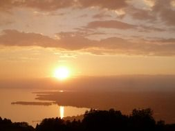 beautiful sunset above lake constance, austria, bregenz