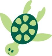 Green tropical turtle clipart