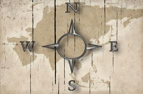 Compass on the map clipart