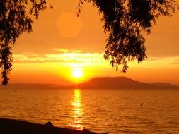Golden sunset over lake balaton