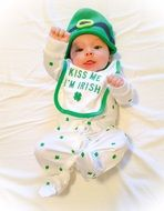 baby in suit for St. Patrick\'s day