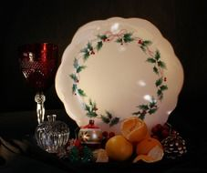 Christmas still life on a white plate