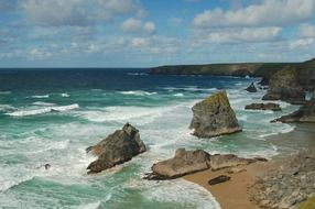scenic rocky coast, uk, england, cornwall