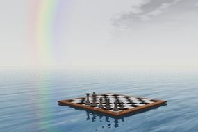chess board floats on water