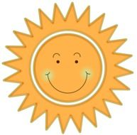 Yellow smiling sun clipart