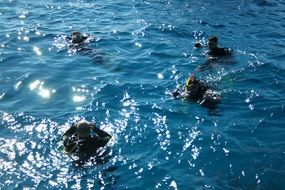 photo of the divers in ocean