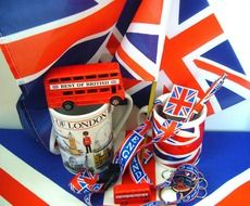 tourist souvenirs in London on the background of the English flag