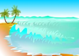 palm trees beach drawing