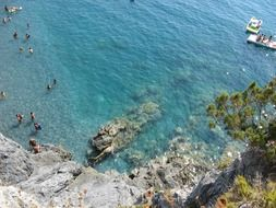 View from the cliff on the bathers on the beach in Calabria