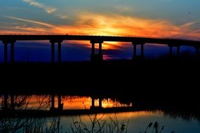 amazing orange bridge sunset lake reflection