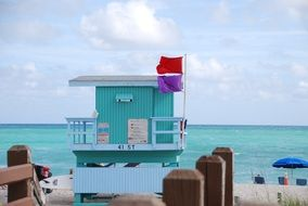 lifeguard tower on a beach in miami