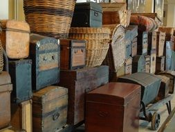 Vintage luggage on Ellis Island