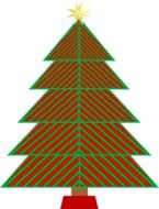 red and green striped christmas tree, icon