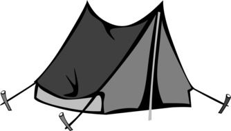 camping tent, grayscale drawing