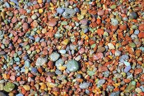 colorful pebbles on a tourist beach