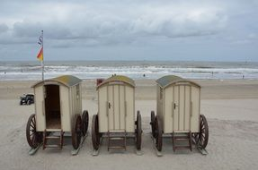 tiny changing rooms on the beach