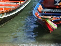 bright thai boats closeup
