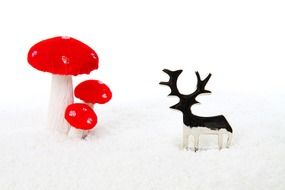 Mushrooms and deer decorations