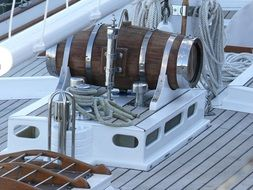 ropes and equipment on a sailing boat