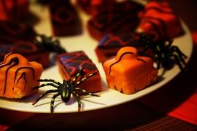 baked cake and candy halloween food