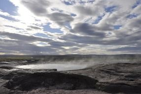 panorama of a big geyser in iceland