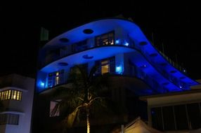 hotel with blue lights in miami