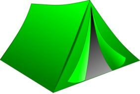 tent camping green drawing