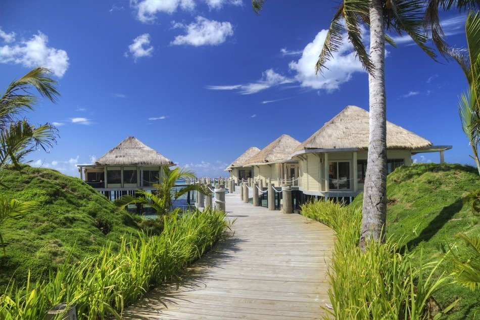 Beach huts at boardwalk, oceania, Samoa