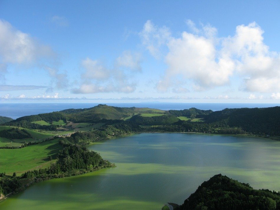 panorama of the green lake on the Azores